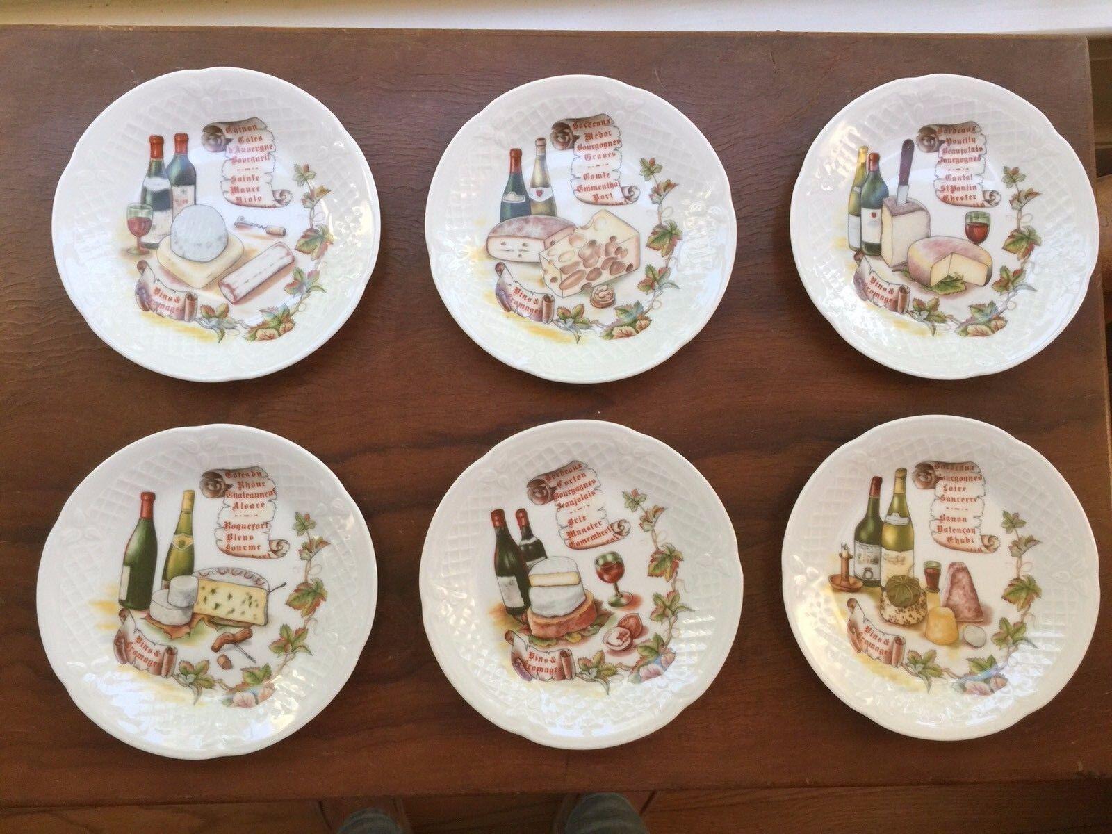 Porcelain  de Limoges France set of 6 Appetizer Plates