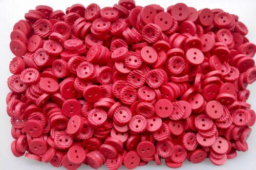 J94 Petit 11 mm 18 L Rouge Côtelé Satin 2 Trous Boutons minuscule Bouton 10 25 50 100