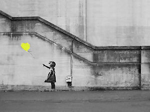 Banksy Girl Yellow Hope Balloon Canvas Pictures Graffiti