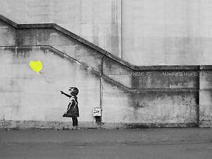 Urban Wall Art banksy girl yellow hope balloon canvas pictures graffiti urban