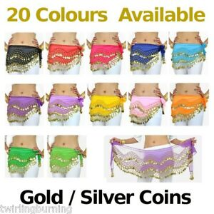 Belly-Dance-Gold-Silver-Coin-Belt-1-5m-Hip-Scarf-Skirt-Wrap-Dancing-Costume-AB01