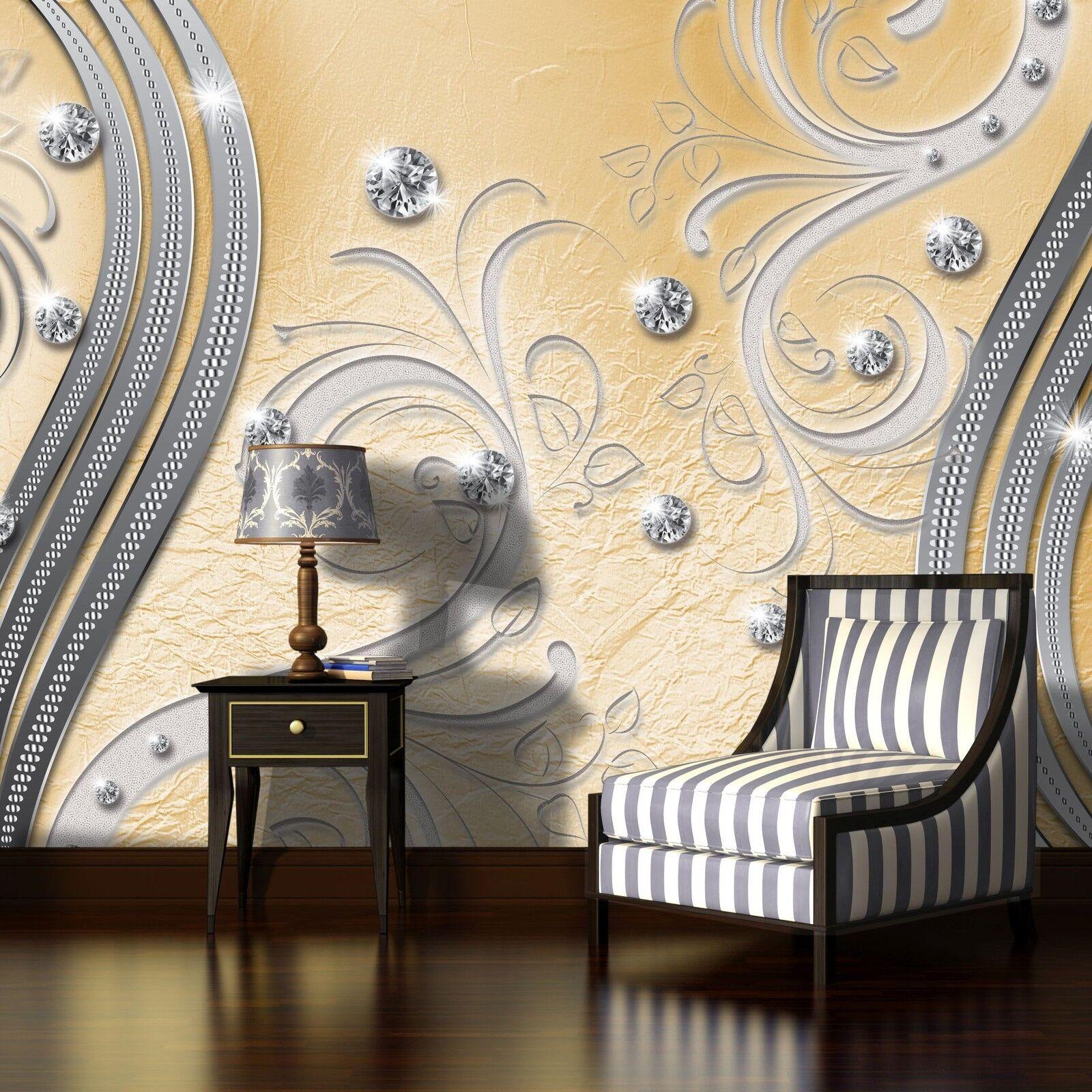 VLIES Fototapete Tapeten Poster Foto  Bilder Gold BRILLANT ORNAMENT 3FX2049VE