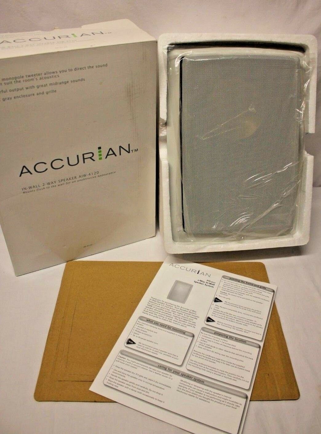 NEW Accurian In-Wall 2-Way Speaker with Flush Mount Woofer Tweeter AIW-4120