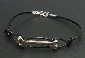 Sterling-Silber-Armband-Knochen-mit-Leder-massiv-punziert-925-handgefertigt