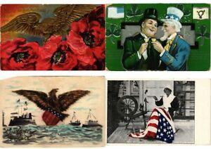 U-S-A-PATRIOTIC-FLAGS-48-Mostly-EMBOSSED-Vintage-Postcards-pre-1940-PART-1