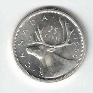 CANADA-1956-TWENTY-FIVE-CENTS-QUARTER-QUEEN-ELIZABETH-II-800-SILVER-COIN