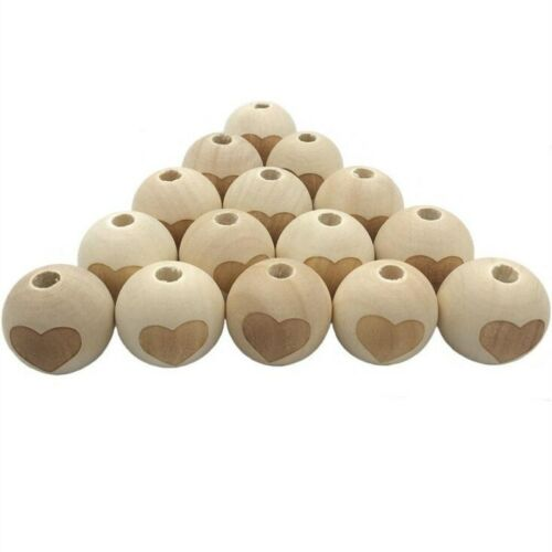 10X Natural color Wood Loose Bead cartoon picture Baby Pacifier Clip Accessories