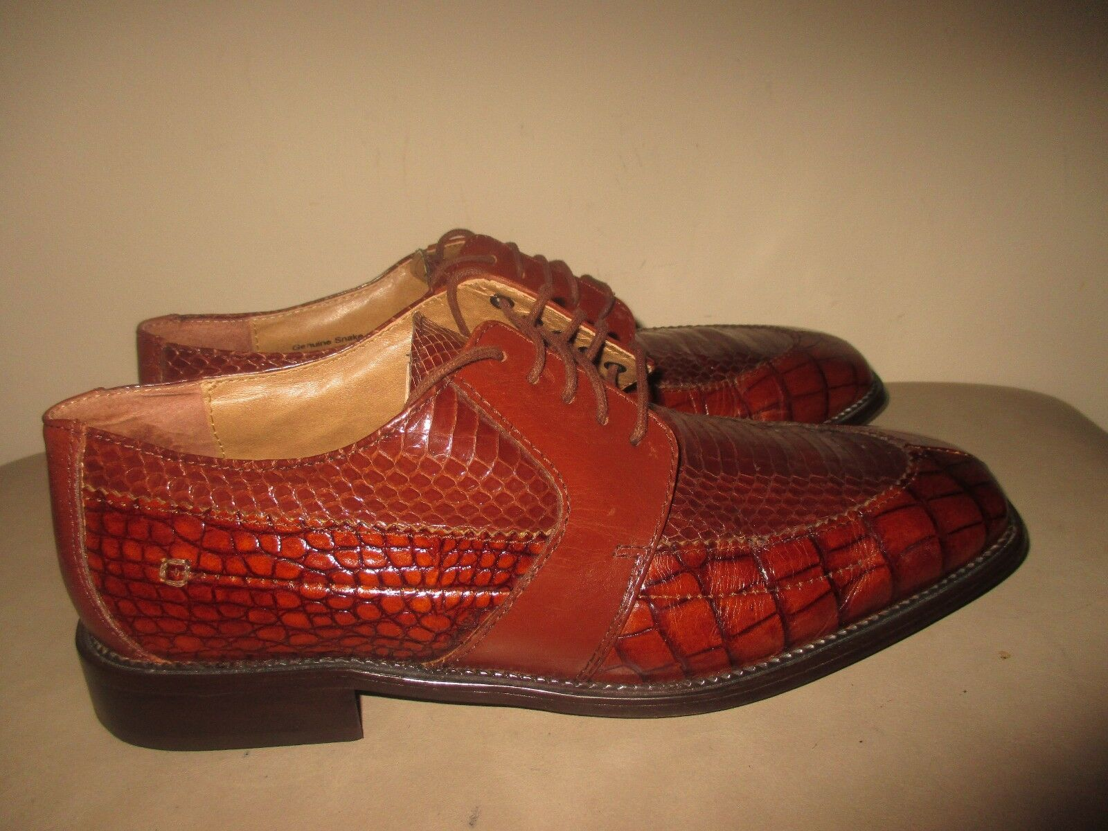 Stacy Adams Genuine Snake/Pelle Dress Oxford Lace Up Uomo Taglia 9M Cognac marrone