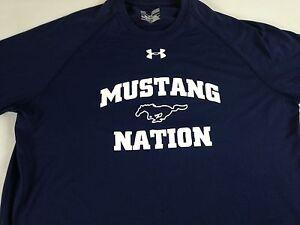 SMU-Mustangs-Nation-Shirt-Under-Armour-Heat-Gear-Loose-Womens-Large-Navy-Blue