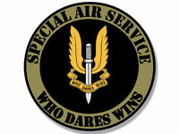 "4"" SAS SPECIAL SERVICE  AIR WHO DARES WINS HELMET BUMPER DECAL STICKER USA MADE"