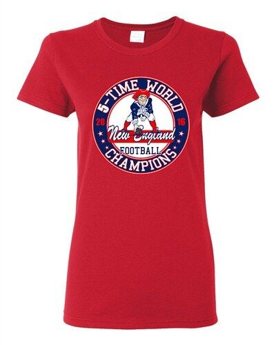 Ladies Amazing 5-Time World Champion New England Football Sports DT T-Shirt Tee