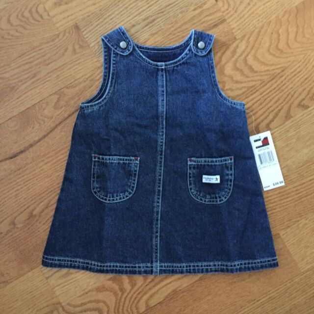 982f9f57 TOMMY HILFIGER infant girls 6-12m BLUE JEAN A-LINE DENIM JUMPER DRESS nwt