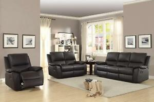 Details about Brown Top Grain Leather Reclining Sofa Set 3Pcs Homelegance  Greeley 8325BRW-3
