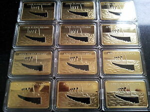 12x 1912 RMS TITANIC Boat Ship 1oz Bar of 24Kt Gold Ingot 100 Anniversary Joblot - <span itemprop=availableAtOrFrom>UK Cardiff, United Kingdom</span> - Returns accepted Most purchases from business sellers are protected by the Consumer Contract Regulations 2013 which give you the right to cancel the purchase within 14 days after the d - UK Cardiff, United Kingdom