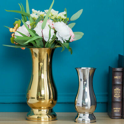 Gold Silver Large Stunning Flower Vase Urn Luxury Wedding Table Home Decor