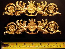 PAIR FRENCH ANTIQUE EMPIRE GOLD GILT DORE RESIN WALL DOOR MOULDING DECORATION