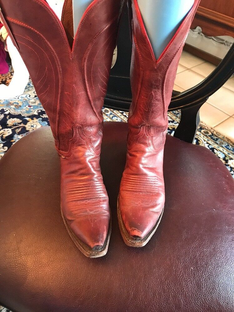 Women's Red Leather Lychees Gorgeous! 1883 Cowboy Boots  Gorgeous! Lychees N 8470 Size 6m Must See bc9edf