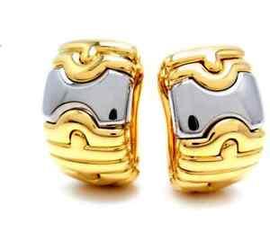 Bulgari Parentesi Hoop Earrings 18K Yellow Gold / Stainnless Steel