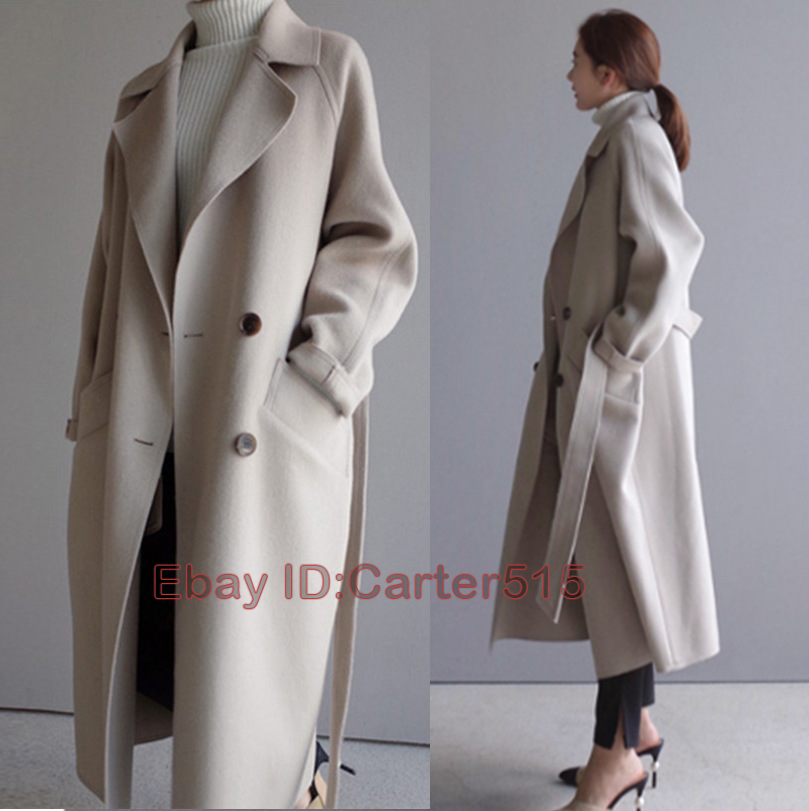 Women Wool Blend Coat Long Belt Hooded Overcoat Trench Jacket Warm Parka Outwear
