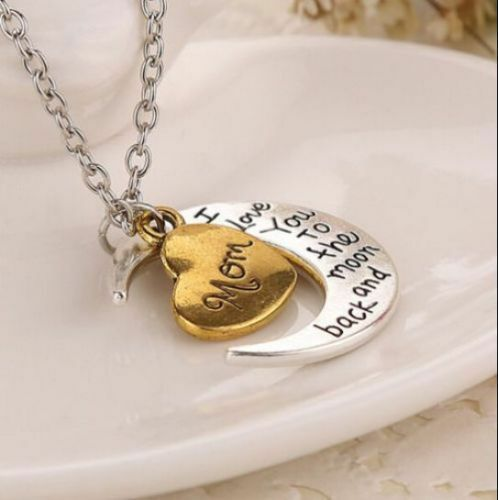 I Love You To The Moon And Back Family Birthday Silver /& Gold Pendant  Necklace