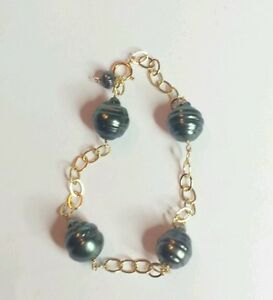 Solid-14k-gold-round-link-bracelet-Black-12mm-genuine-Tahitian-Pearl