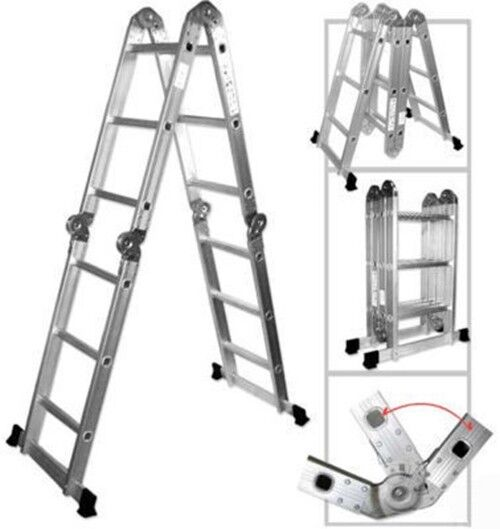 Bon Multi Position Purpose Stairway Aluminum Step Ladder Folding Fold Up Angle  Stair | EBay