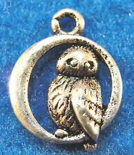 50Pcs. WHOLESALE Tibetan Silver OWL in Ring Charms Pendants Earring Drops Q0030