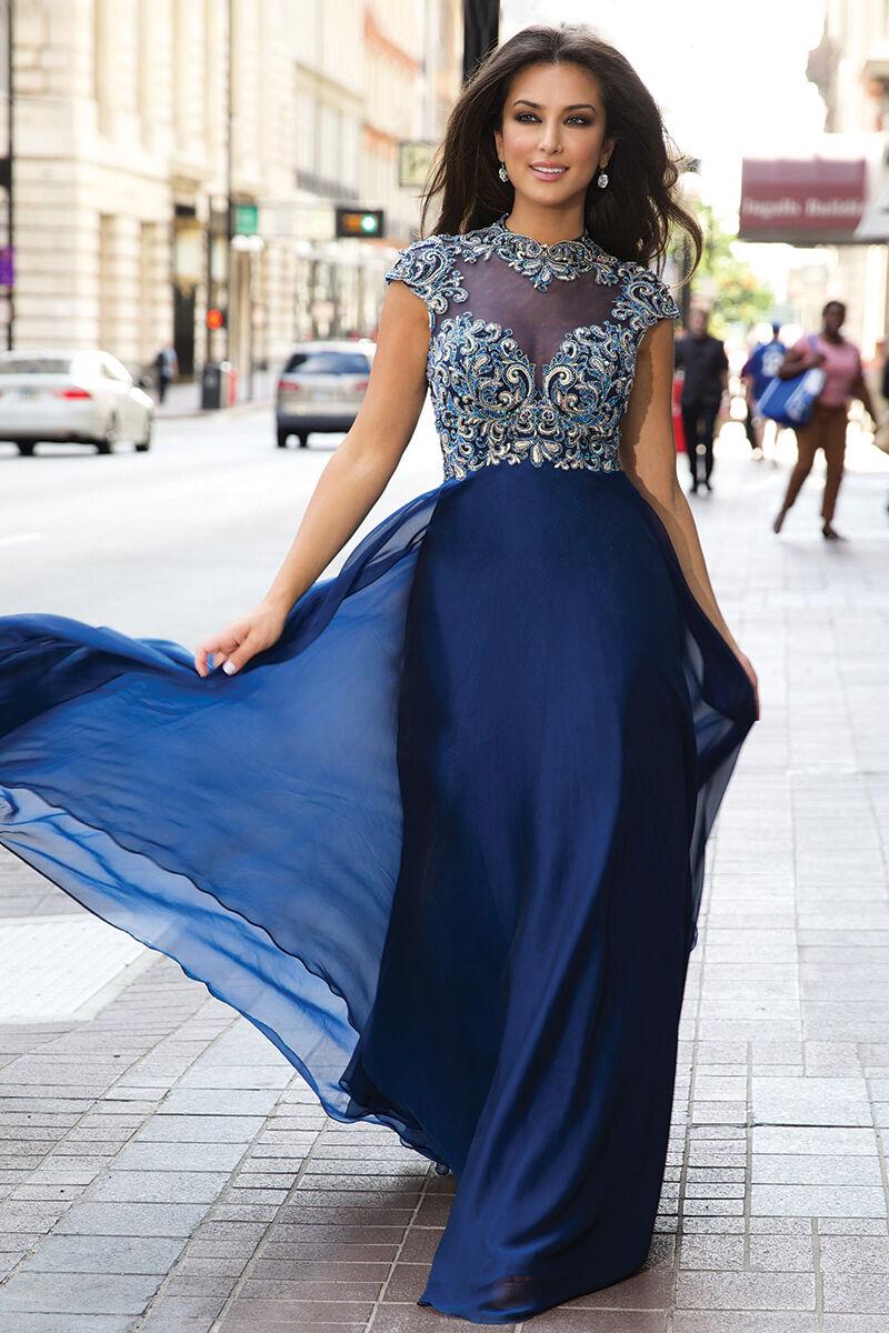 Jovani sexy bleu nuit en mousseline de soie sans hommeches Prom Soirée Robe Sz 2 Neuf avec étiquettes