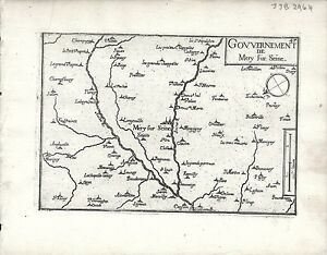 Antique maps, Gouvernement de Mery sur Seine
