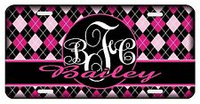 Personalized Monogrammed Custom License Plate Auto Car Tag Argyle Pink