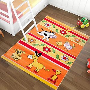 Tapis-chambre-d-039-ENFANTS-FERME-Design-drole-Tapis-pour-enfants-en-orange