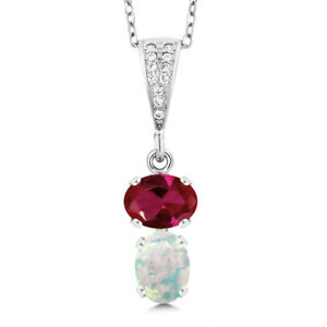 2-27-Ct-Oval-Created-Ruby-and-White-Simulated-Opal-925-Sterling-Silver-Pendant