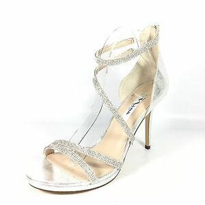 2dd0070c463410 Details about Nina Reed Women s Size 10 M Silver High Heel Strappy Evening  Sandals.