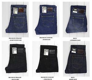 NUEVO-LEE-BROOKLYN-Recto-amp-Comodo-Negro-Vaqueros-azules-L30-L32-L34-TODOS
