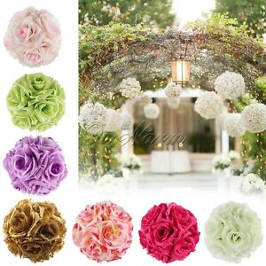 5pclot artificial silk flower rose kissing balls wedding pomander image is loading 5pc lot artificial silk flower rose kissing balls mightylinksfo