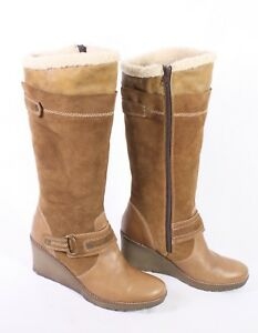 40 Damen Stiefel 10s Velours Braun Wedge Keilabsatz Leder Boots Tozzi Gr Marco 4w77WOYEp