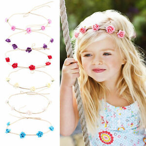 Image is loading Floral-Crown-Flower-Girl-Wedding-Garland-Children-Princess- 6ae50d5f11a