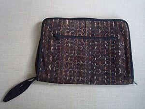 Vintage-IKAT-tissu-doux-Lap-Top-Sac-de-l-039-Indonesie-zip-fermetures-Poches-14-034