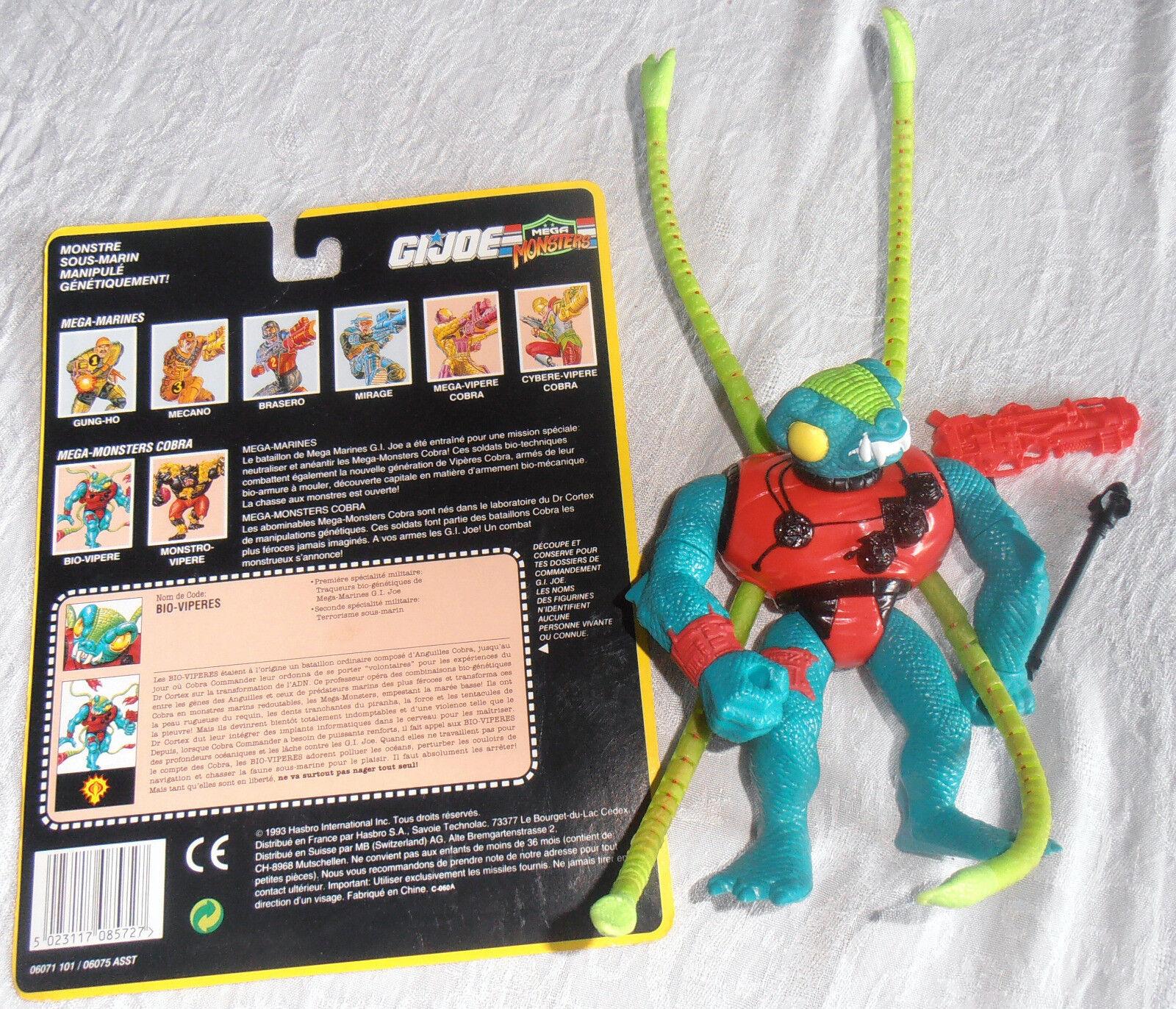 GI JOE Cobra HASBRO 1993 Bio-vipères (Bio-Viper) 100 % complet + carte blister