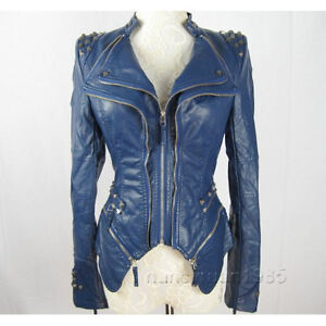 New Womens Punk Spike Studded Shoulder PU Leather Jacket Zipper ...