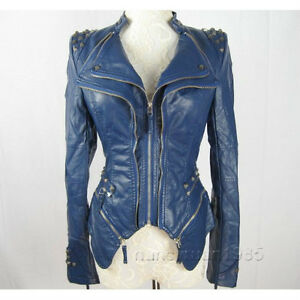 Blue Leather Jacket Women