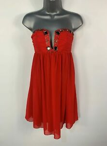 WOMENS-LIPSY-SIZE-UK-10-RED-EMBELLISHED-STRAPLESS-LAYERED-PARTY-A-LINE-DRESS