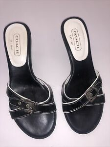 Coach-Landis-Patent-Calf-Leather-Kitten-Heels-Size-7-5-Black-Made-In-Italy