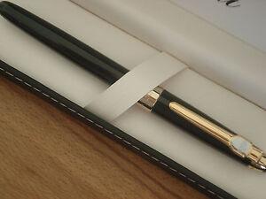 Stylo plume très fin regent noir et bagues dorées port gratuit