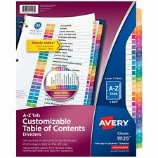 Avery A Z Tab Dividers For 3 Ring Binders Customizable Table Of Contents Mu