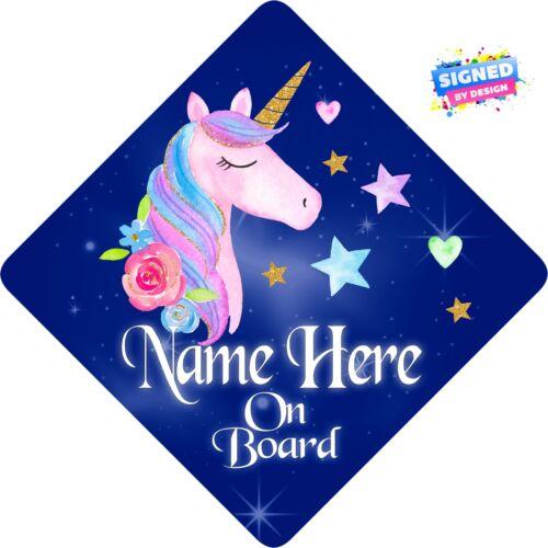 Personalised Unicorn Floral Enfant//Bébé À Bord Voiture Signe Nouveau ~ bleu foncé /& ROSE 3