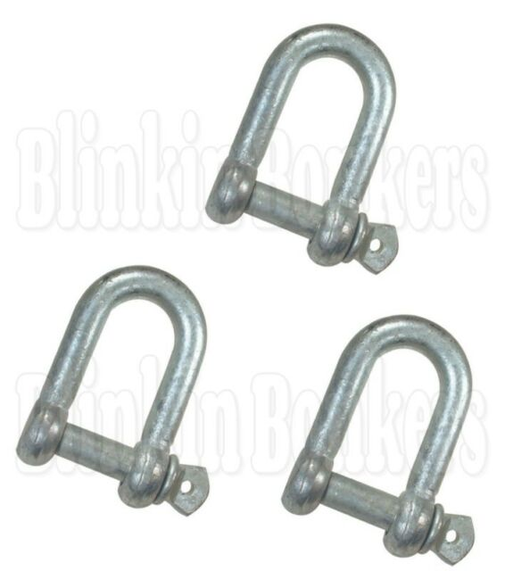 2 X 8mm STAINLESS STEEL MARINE WIDE DEE SHACKLES with SCREW PINS yacht boat