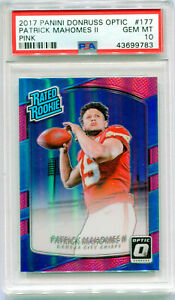 PATRICK-MAHOMES-2017-Panini-Donruss-Optic-Prizm-Pink-Holo-Rated-Rookie-RC-PSA-10