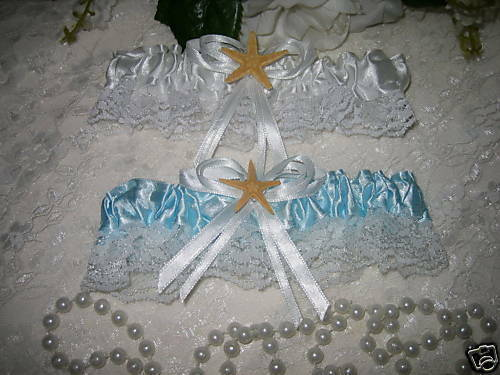 Wedding Party Reception Beach Ocean Sunsets Real Starfish Garters 2 Piece Set
