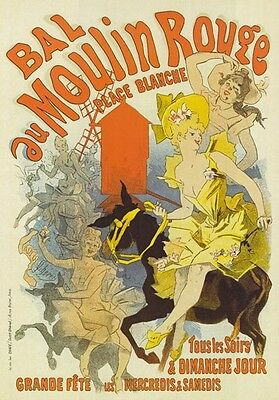 AP79 Vintage 1889 French Moulin Rouge Cheret Advertisement Poster A1/A2/A3/A4